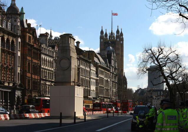 Widok na budynek parlamentu w Londynie, Wielka Brytania