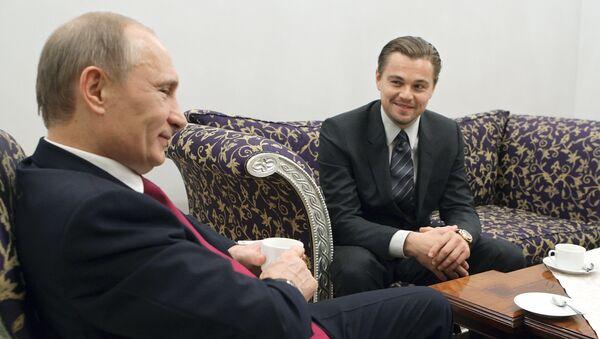 Leonardo di Caprio spotkał się z Władimirem Putinem, 23 listopada 2010, Petersburg - Sputnik Polska