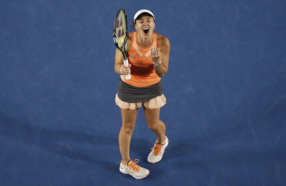 Szwajcarska tenisistka Martina Hingis podczas meczu w ramach Australian Open, Melbourne, Australia, 29 stycznia 2016 r.
