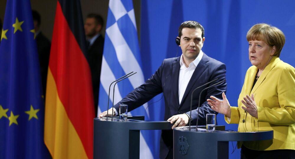 Premier Grecji Aleksis Tsipras i kanclerz Niemiec Angela Merkel