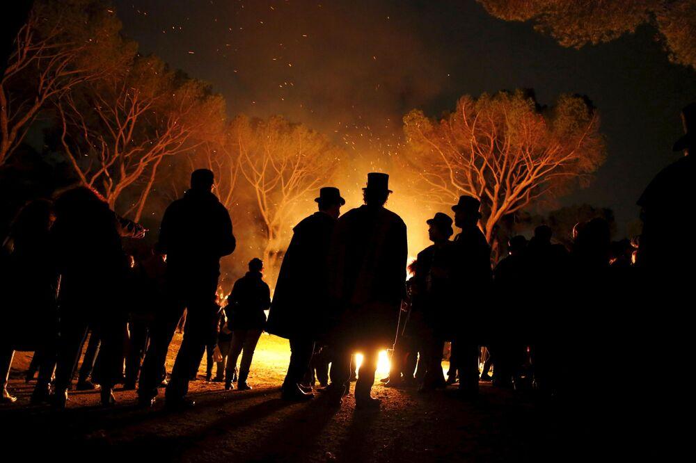 Uczestnicy ceremonii Pogrzeb sardynki w Madrycie, Hiszpania