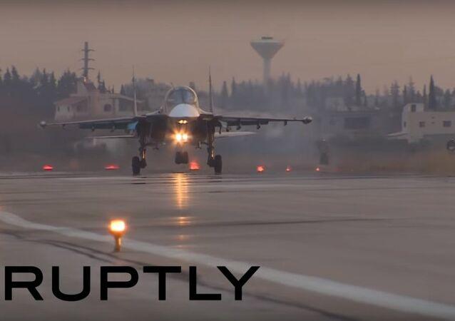 Rosyjskie samoloty Su-24 i Su-34 w Syrii
