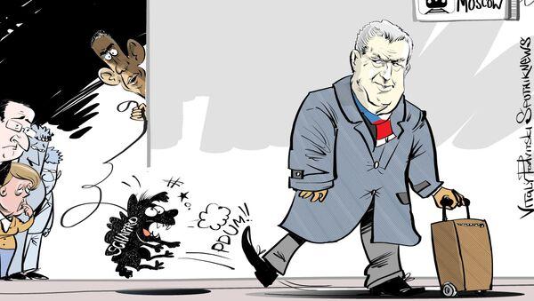 Miloš Zeman vs Andrew Schapiro, karykatura - Sputnik Polska