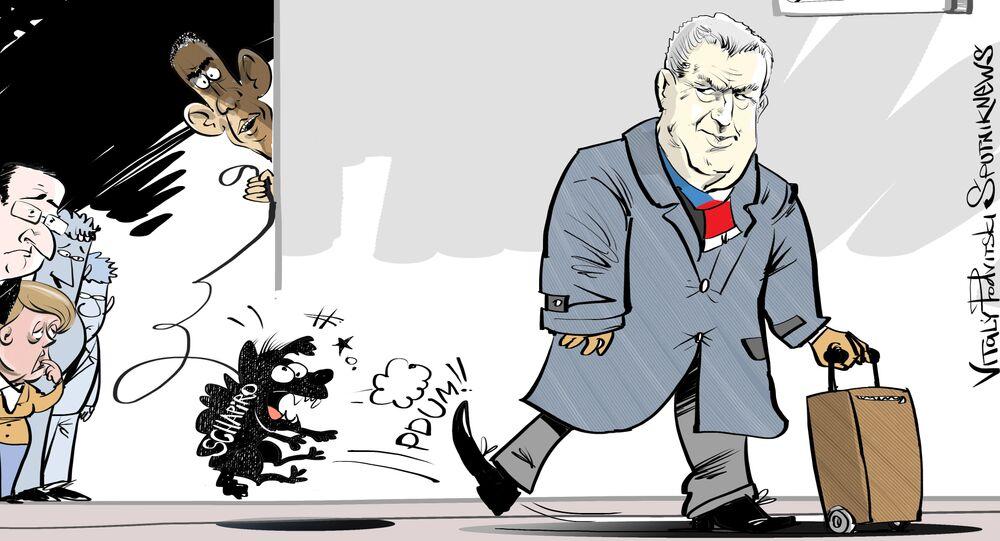 Miloš Zeman vs Andrew Schapiro, karykatura