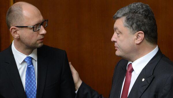 Prezydent Ukrainy Petro Poroszenko i premier Arsenij Jaceniuk - Sputnik Polska