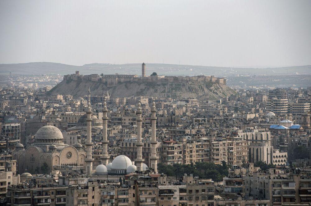 Widok na syryjskie miasto Aleppo