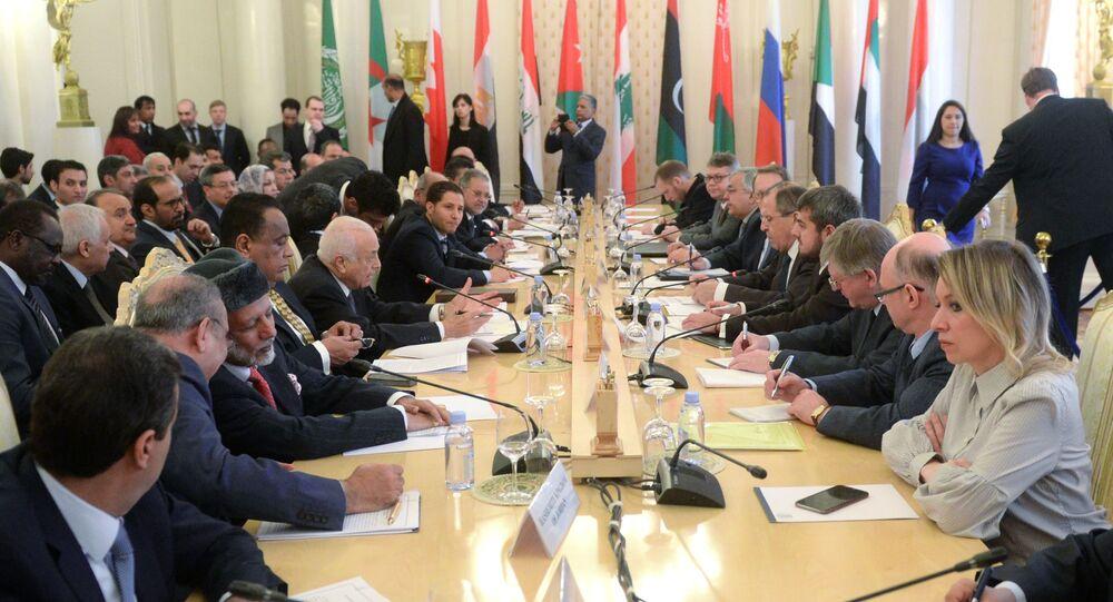 Sesja rosyjsko-arabskiego forum z udziałem szefa rosyjskiej dyplomacji Siergieja Ławrowa