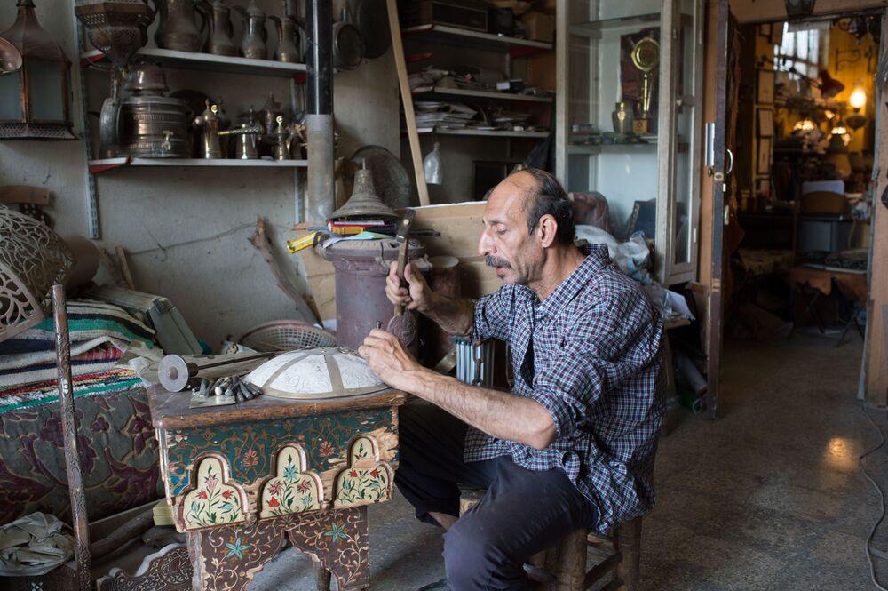 Grawer w warsztacie w Damaszku