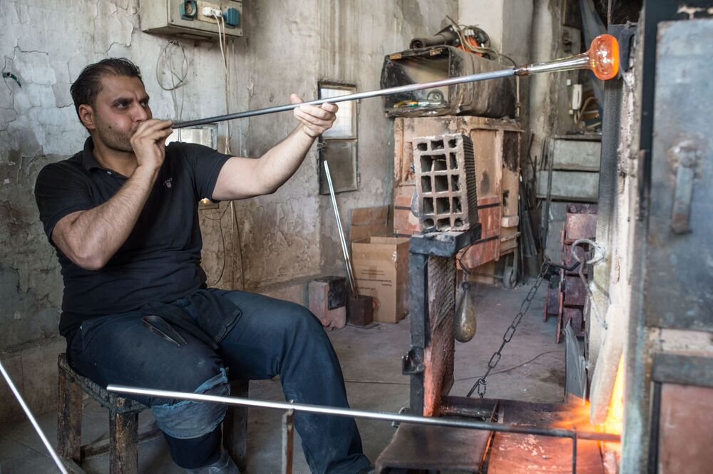 Dmuchacz w warsztacie w Damaszku