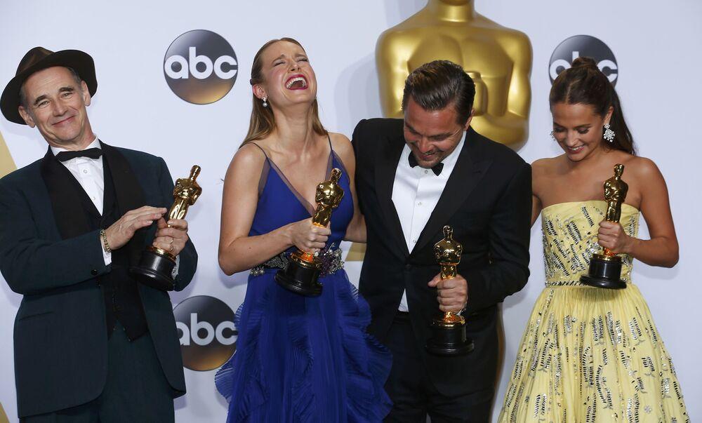 Mark Rylance, Brie Larson, Leonardo DiCaprio i Alicia Vikander