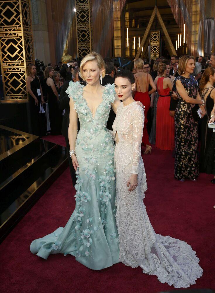 Aktorki Cate Blanchett i Rooney Mara przed 88. ceremonią wręczenia Oscarów