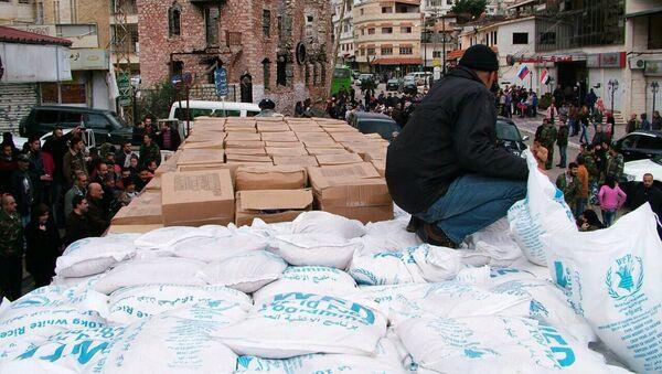 Rosyjska pomoc humanitarna dostarczona do miasta Kessab w syryjskiej Latakii - Sputnik Polska
