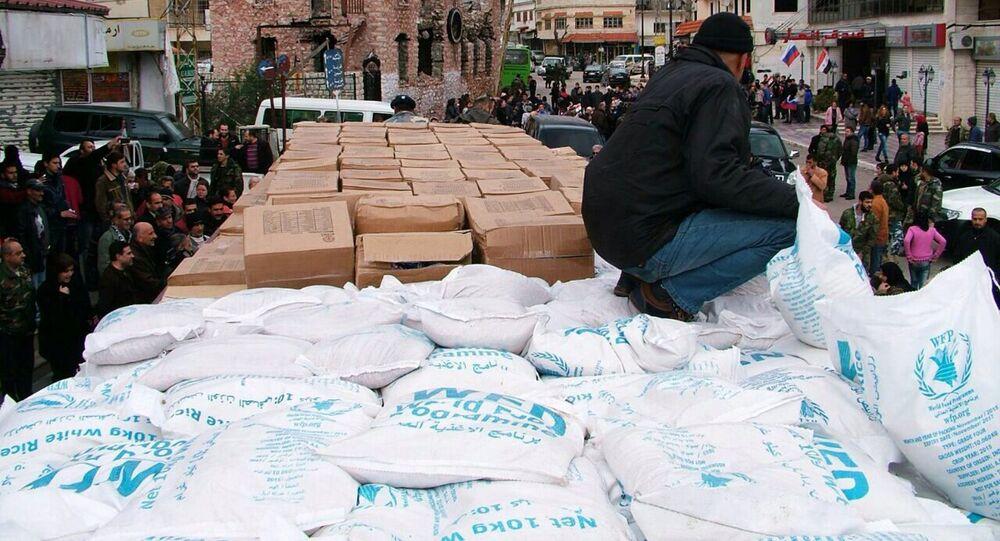Rosyjska pomoc humanitarna dostarczona do miasta Kessab w syryjskiej Latakii