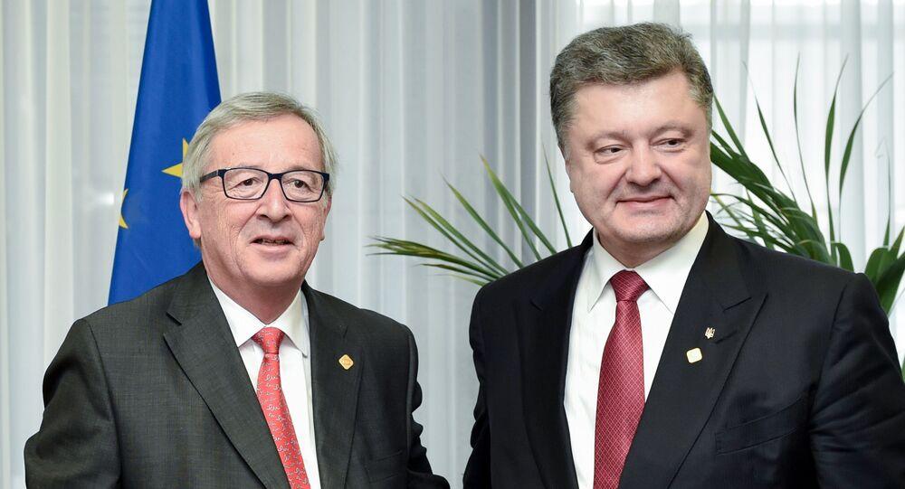Przewodniczący Komisji Europejskiej Jean-Claude Juncker i prezydent Ukrainy Petro Poroszenko