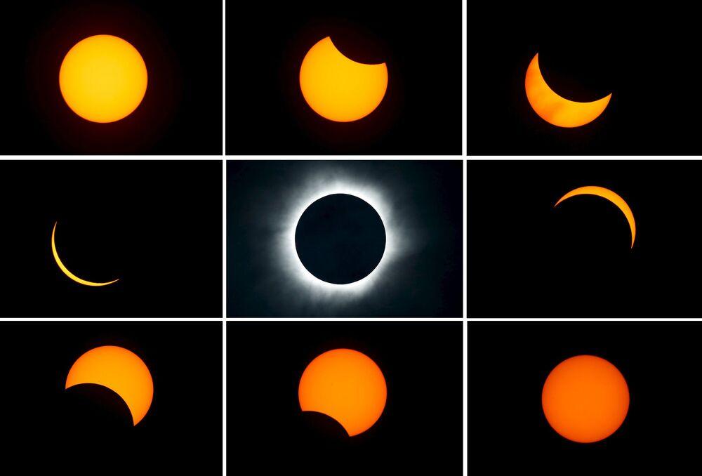 Zdjęcia etapów zaćmienia słońca w Indonezji