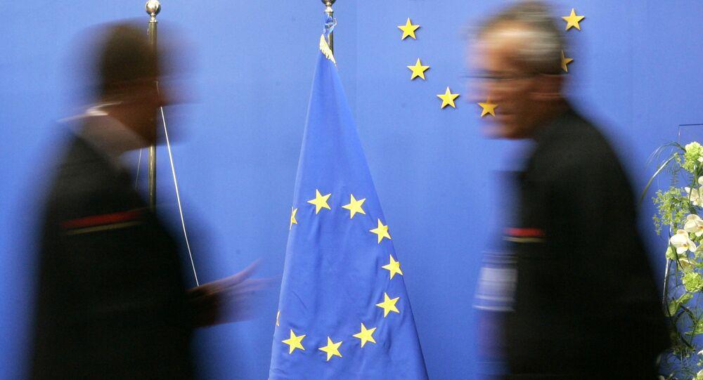 Flaga UE w budynku Rady UE w Brukseli
