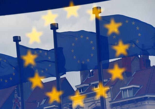 Flagi UE w Brukseli