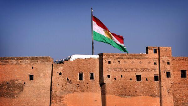 Flaga Irackiego Kurdystanu w mieście Erbil - Sputnik Polska