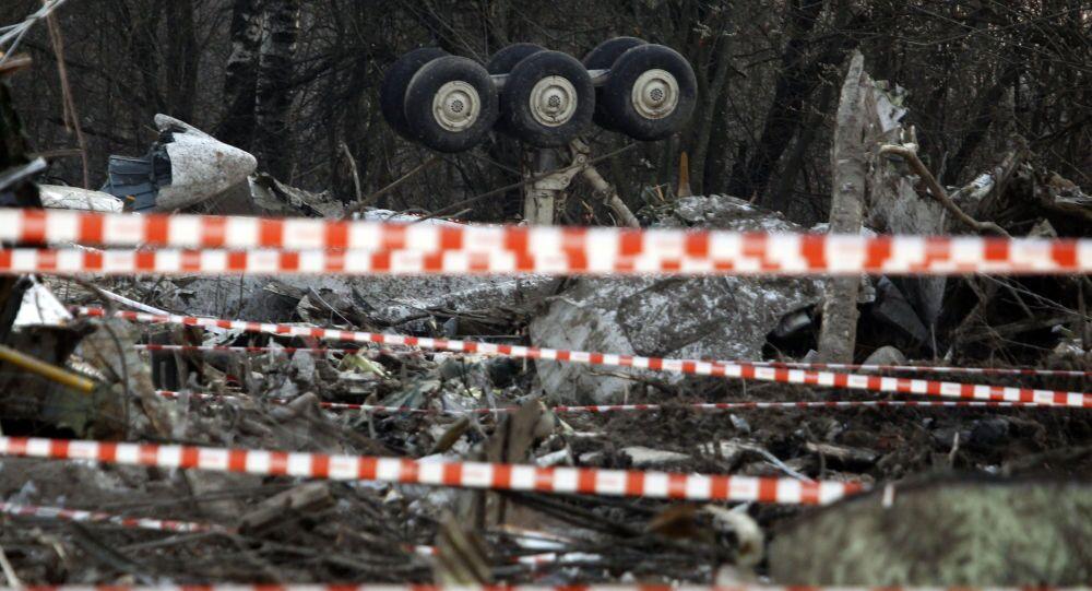 Miejsce katastrofy polskiego samolotu prezydenckiego pod Smoleńskiem, 11 kwietnia 2010 r.