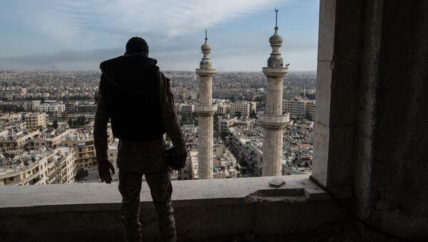 Żołnierz syryjskiej arabskiej armii w Aleppo - Sputnik Polska