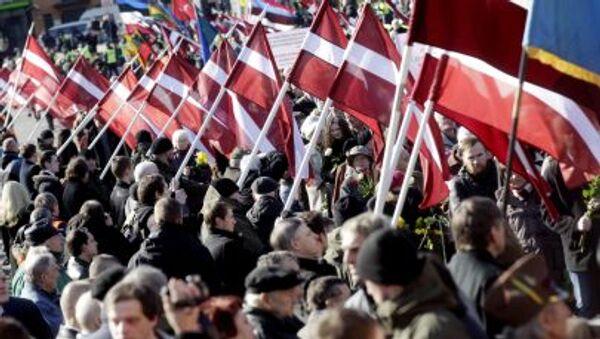 Pochód członków legionu Waffen SS w Rydze - Sputnik Polska