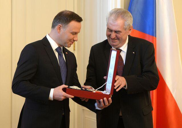 Prezydent Polski Andrzej Duda i prezydent Czech Milosz Zeman