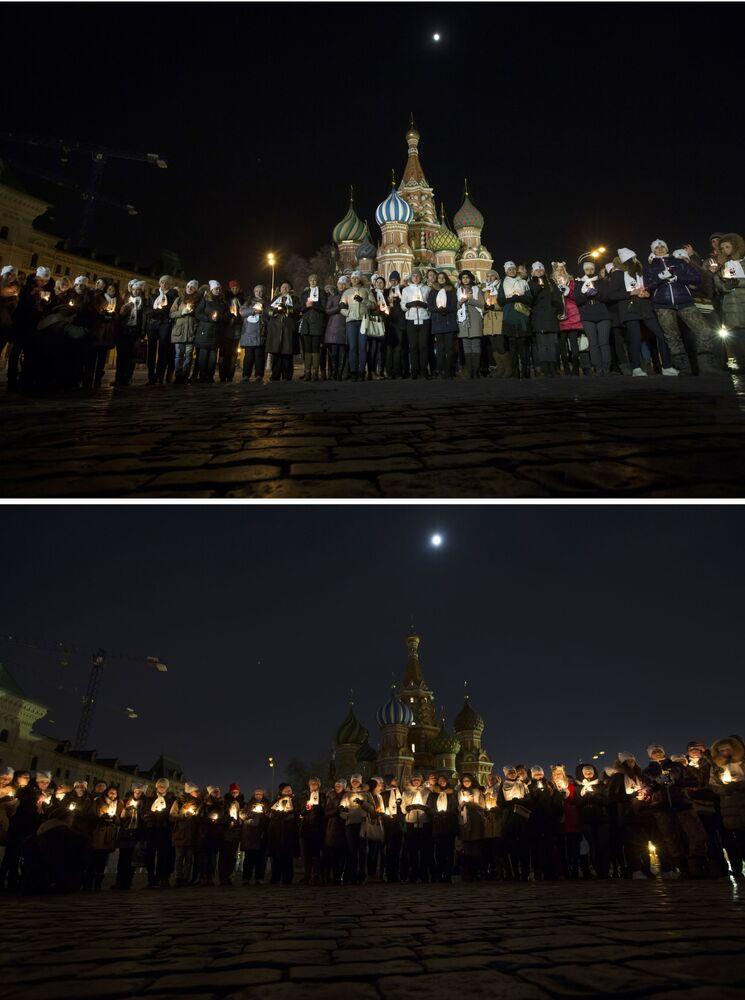 Ludzie na Placu Czerwonym w Moskwie