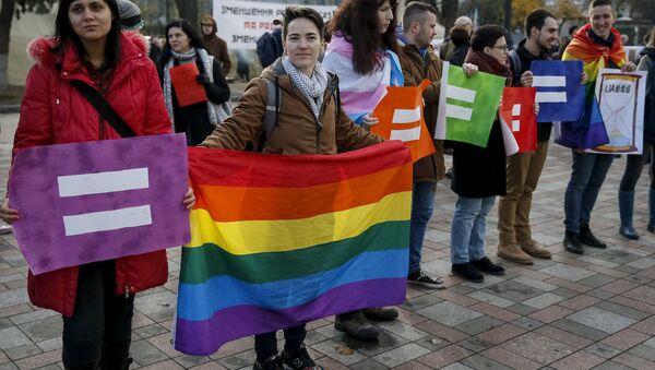 Działacze na rzecz praw osób homoseksualnych w Kijowie, 2015 rok - Sputnik Polska