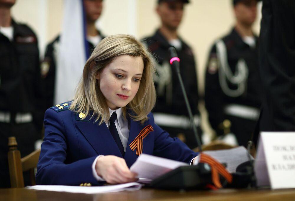Prokurator Krymu Natalia Pokłońska podczas ceremonii zaprzysiężenia