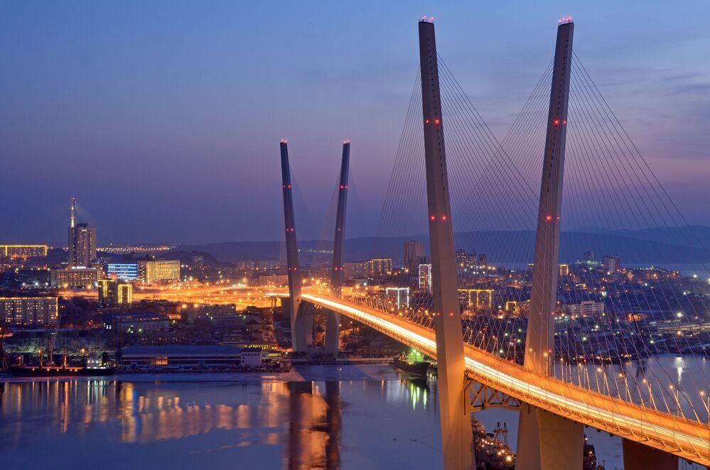 Nocny widok na most we Władywostoku