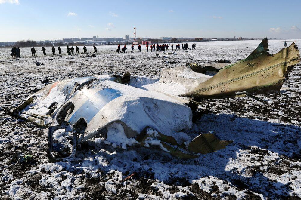 Miejsce katastrofy samolotu Boeing-737-800 na lotnisku w Rostowie nad Donem
