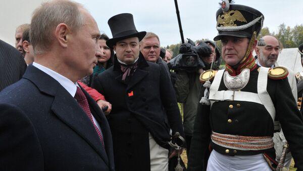 Władimir Putin na rekonstrukcji bitwy pod Borodino - Sputnik Polska
