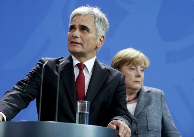 Kanclerz Austrii Werner Faymann i kanclerz Niemiec Angela Merkel