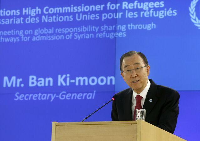 Sekretarz generalny ONZ Ban Ki-moon w Genewie