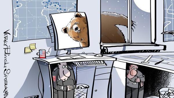 Karykatura: Pentagon nie będzie w stanie odbijać cybernetycznych kontrataków swoich przeciwników - Sputnik Polska