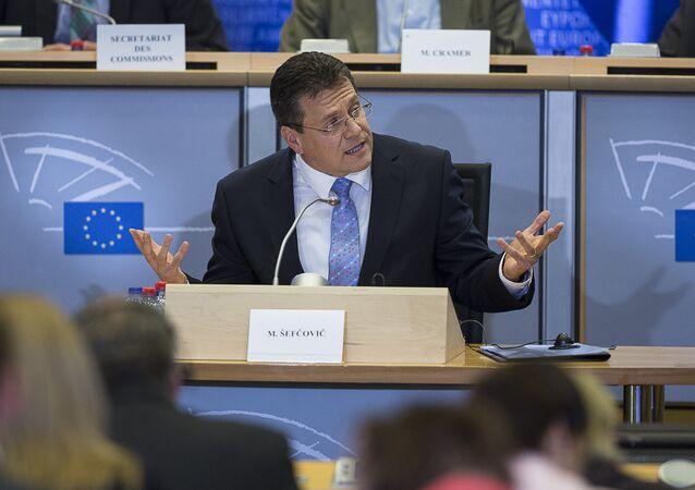Wiceprzewodniczący Komisji Europejskiej ds. Unii Eneretycznej Marosz Szewczowicz. Bruksela.
