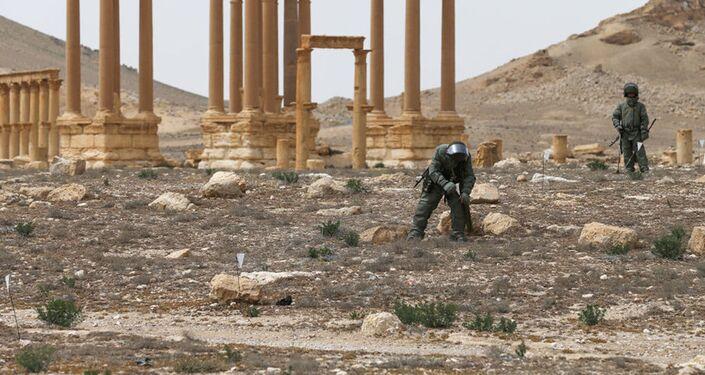 Rozminowywanie historycznej części Palmyry i okolic przez saperów z Międzynarodowego Centrum Przeciwminowego Sił Zbrojnych Federacji Rosyjskiej