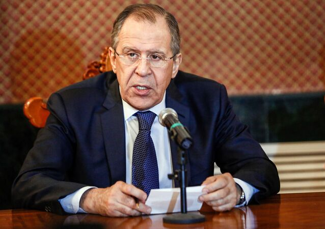 Minister spraw zagranicznych Rosji Siergiej Ławrow na spotkaniu z ministrem spraw zagranicznych Mongolii Lundengiynom Purevsurenem
