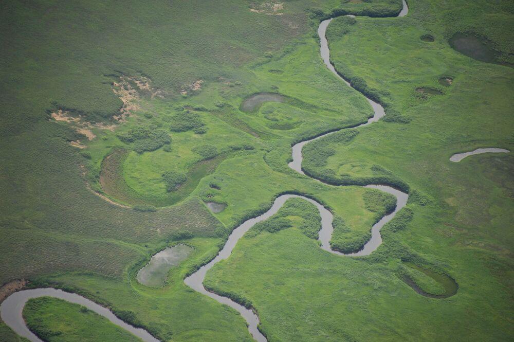 Widok na jedną z rzek w Rezerwacie Kronockim na Kamczatce