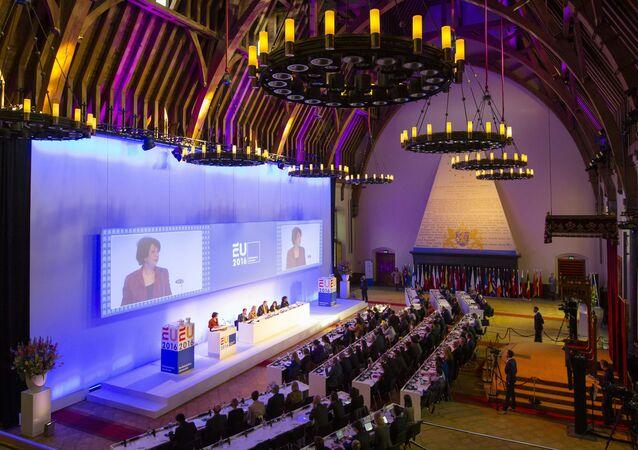 Posiedzenie parlamentu w Hadze, Holandia.