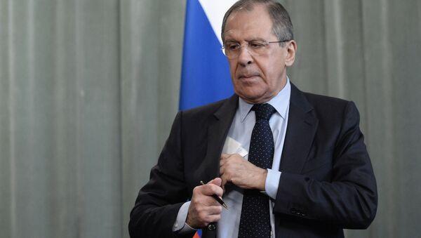 Minister spraw zagranicznych Rosji Sergiej Ławrow po konferencji prasowej w Moskwie - Sputnik Polska