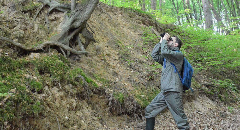 Mężczyzna z lornetką w lesie