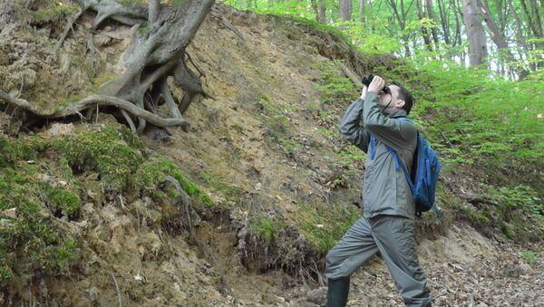 Mężczyzna z lornetką w lesie - Sputnik Polska