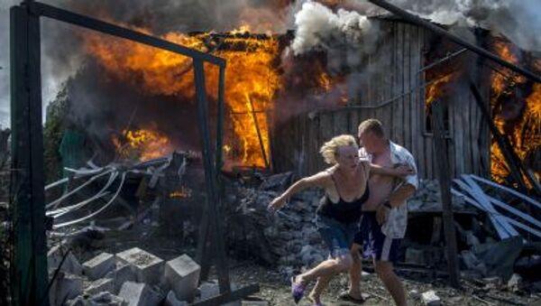 Nalot Sił Powietrznych Ukrainy spowodował pożar na Stanicy Ługańska (niedaleko Ługańska) - Sputnik Polska