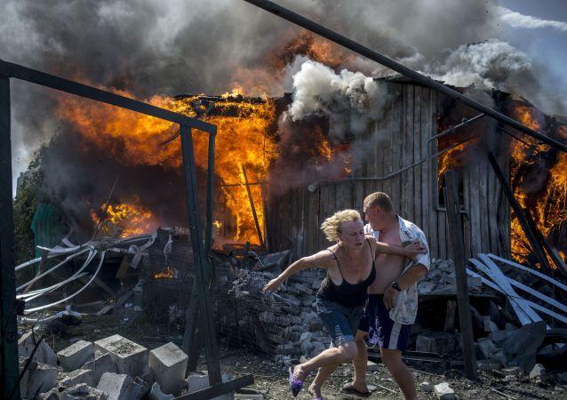 Nalot Sił Powietrznych Ukrainy spowodował pożar na Stanicy Ługańska (niedaleko Ługańska)