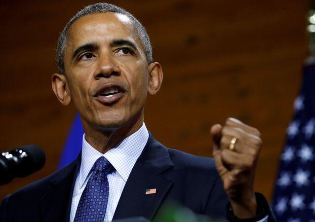 Prezydent USA Barack Obama podczas przemówienia w Hanowerze