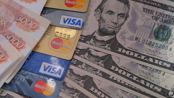 Rosyjska waluta, karty bankowe i dolary USA - Sputnik Polska