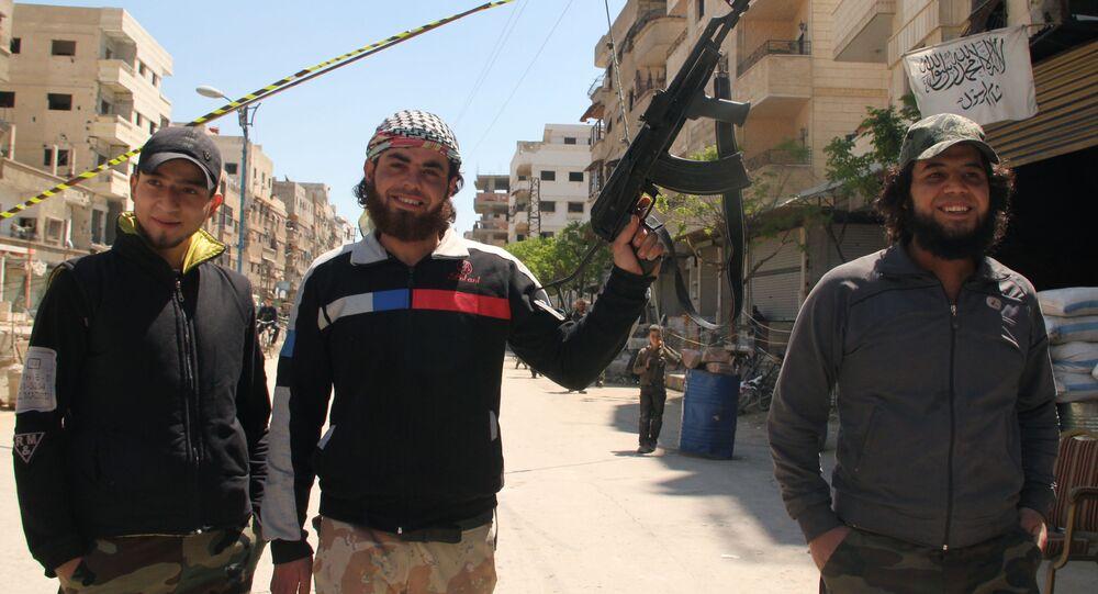 Punkt kontrolny Wolnej Armii Syrii w Damaszku