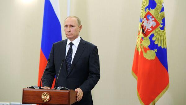 Telekonferencja prezydenta Rosji Władimira Putina z uczestnikami koncertu w Palmyrze - Sputnik Polska