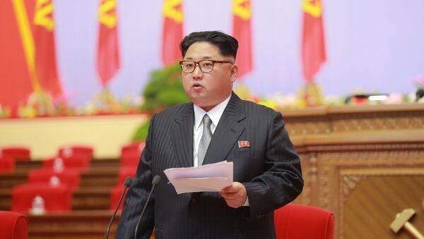 Przywódca KRLD Kim Dzong Un na zjeździe rządzącej Partii Pracy Korei - Sputnik Polska